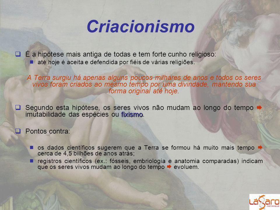 Criacionismo É a hipótese mais antiga de todas e tem forte cunho religioso: até hoje é aceita e defendida por fiéis de várias religiões.