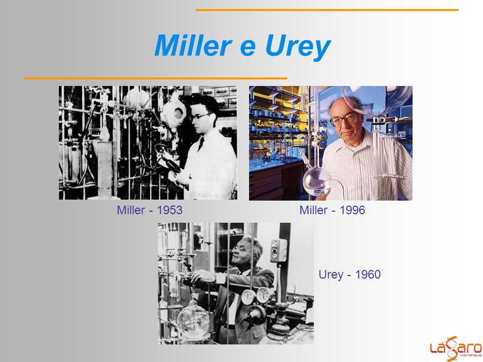 Miller e Urey Miller - 1953 Miller - 1996 Urey - 1960