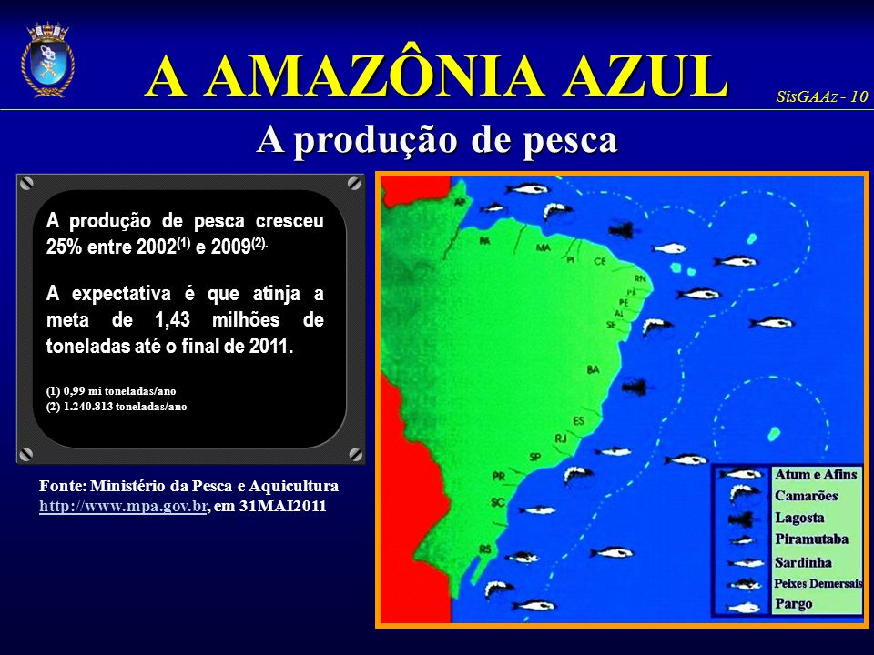 A AMAZÔNIA AZUL A produção de pesca