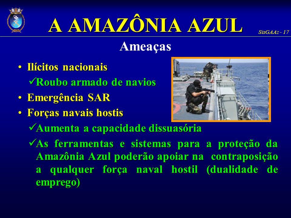 A AMAZÔNIA AZUL Ameaças Ilícitos nacionais Roubo armado de navios