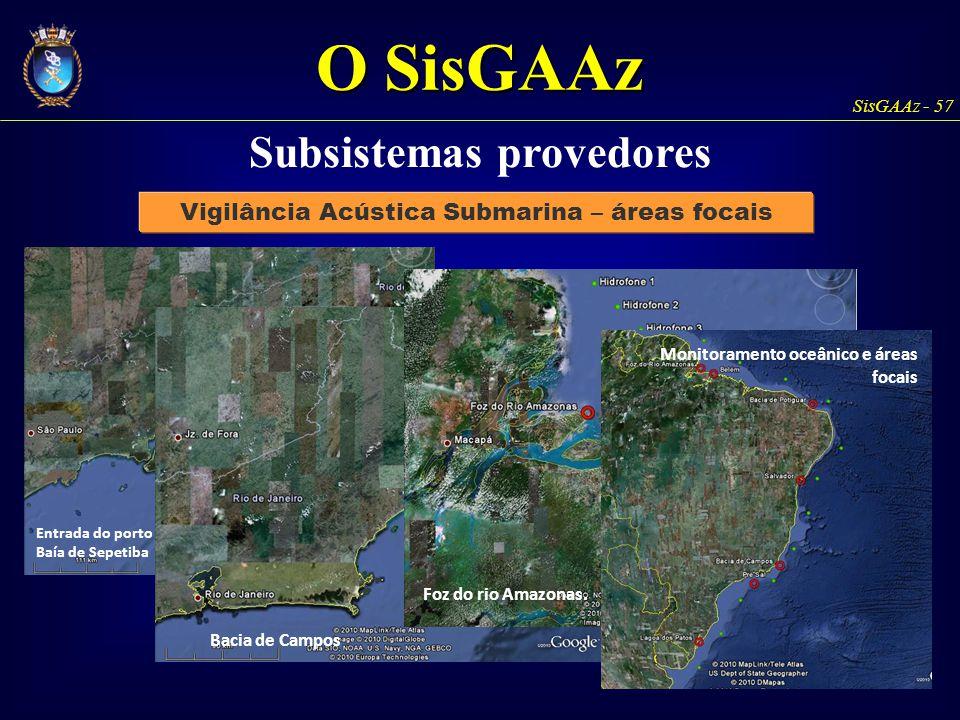 Subsistemas provedores Vigilância Acústica Submarina – áreas focais