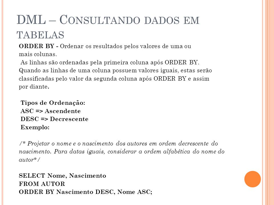 DML – Consultando dados em tabelas