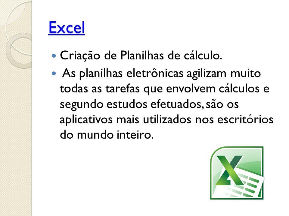 Excel Criação de Planilhas de cálculo.