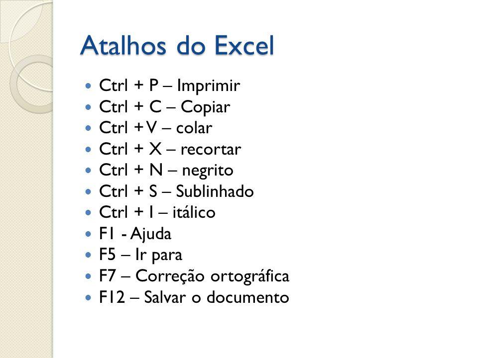 Atalhos do Excel Ctrl + P – Imprimir Ctrl + C – Copiar
