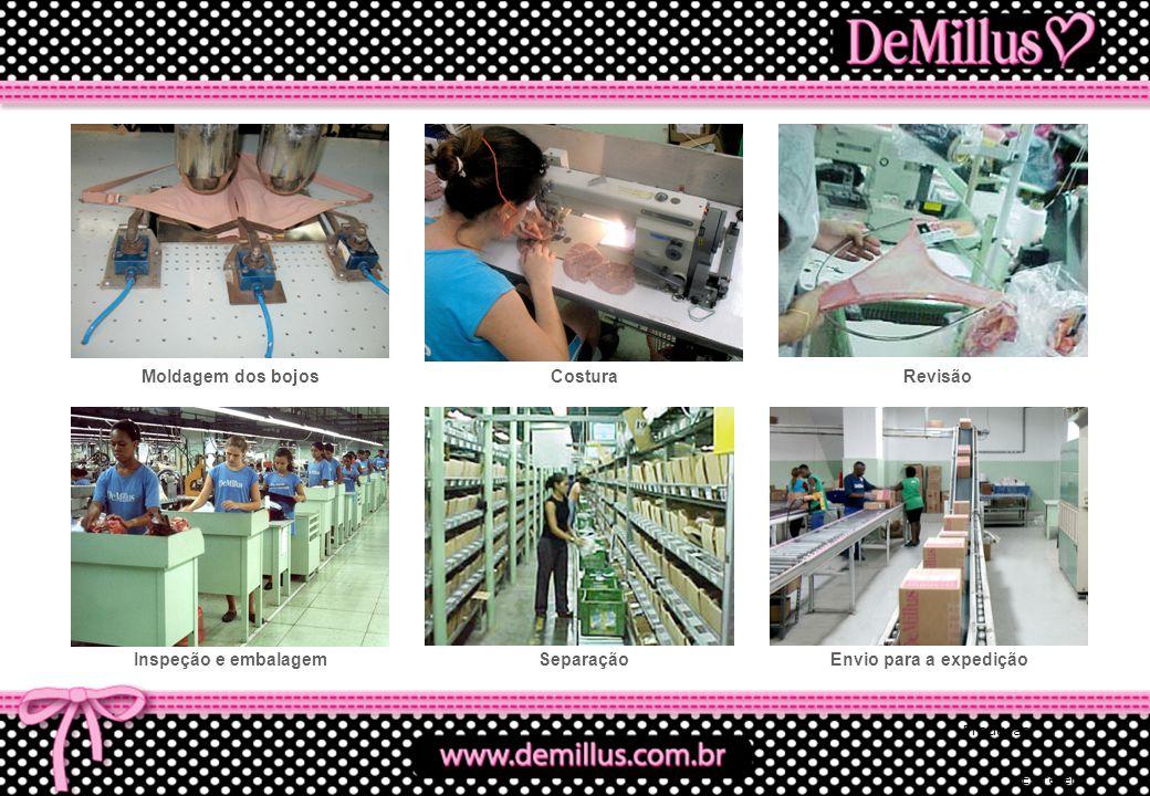 Moldagem dos bojos Costura Revisão Inspeção e embalagem Separação