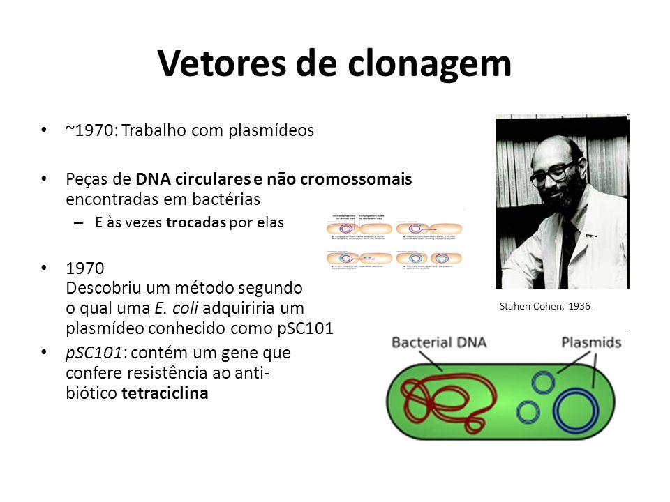 Vetores de clonagem ~1970: Trabalho com plasmídeos