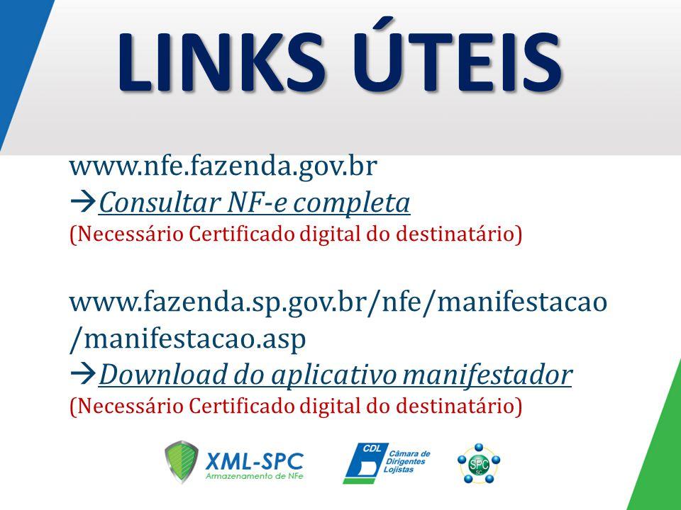 LINKS ÚTEIS www.nfe.fazenda.gov.br Consultar NF-e completa