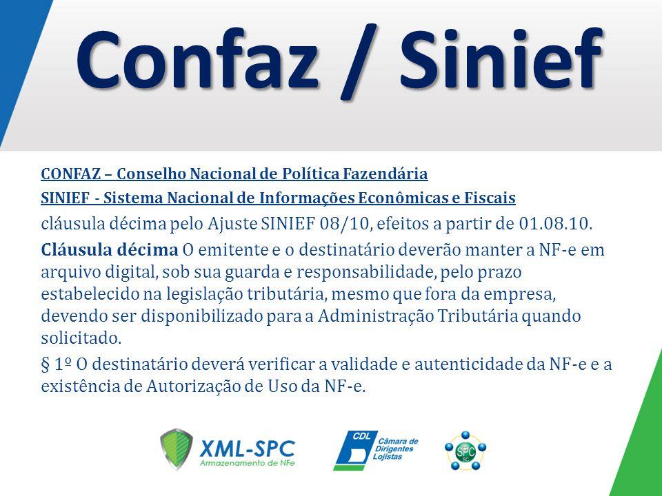 Confaz / Sinief CONFAZ – Conselho Nacional de Política Fazendária. SINIEF - Sistema Nacional de Informações Econômicas e Fiscais.