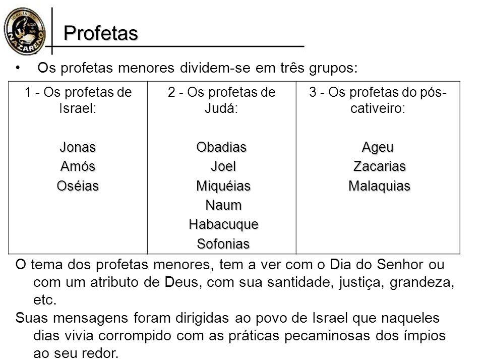 Profetas Os profetas menores dividem-se em três grupos: