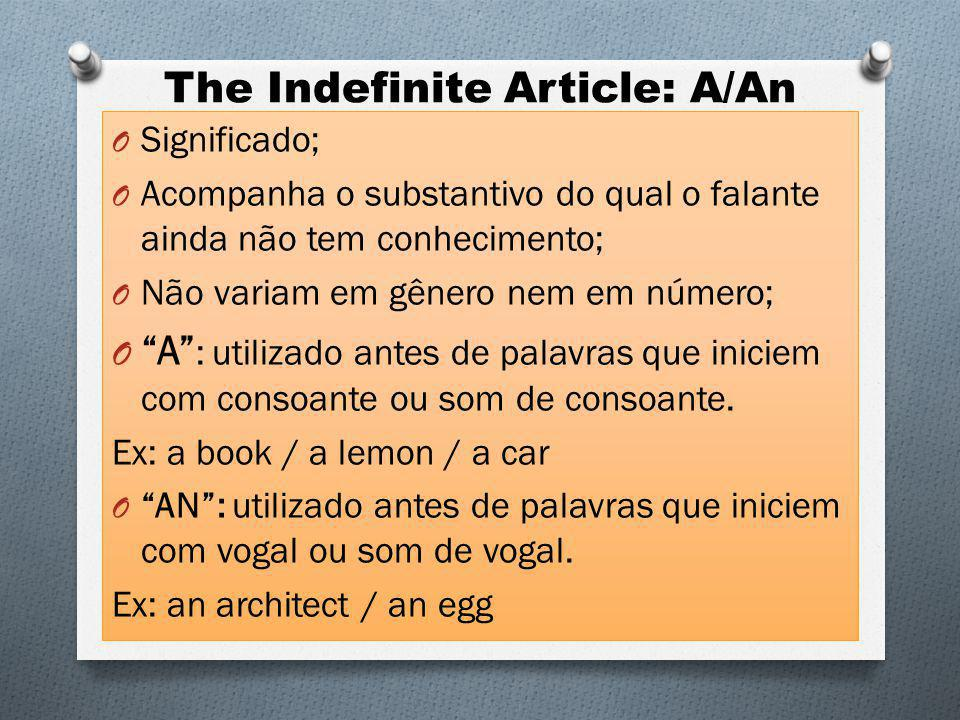 The Indefinite Article: A/An