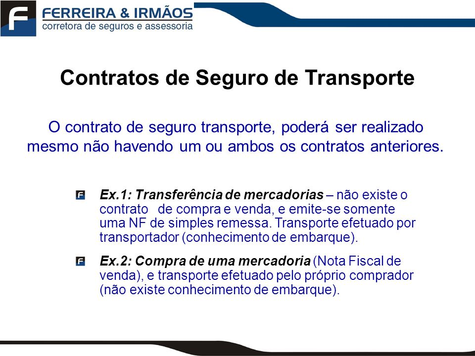 Contratos de Seguro de Transporte