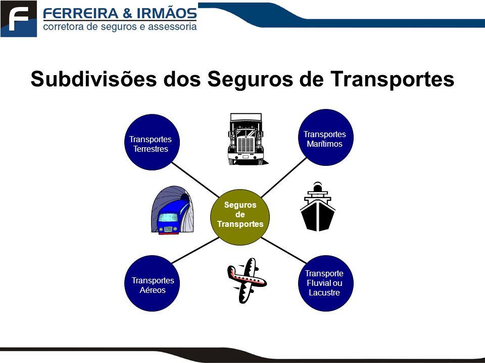 Subdivisões dos Seguros de Transportes Seguros de Transportes