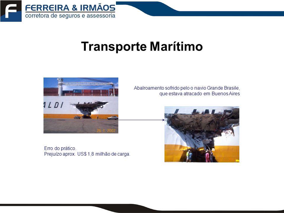 Transporte Marítimo Abalroamento sofrido pelo o navio Grande Brasile, que estava atracado em Buenos Aires.