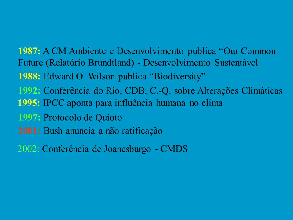 1987: A CM Ambiente e Desenvolvimento publica Our Common