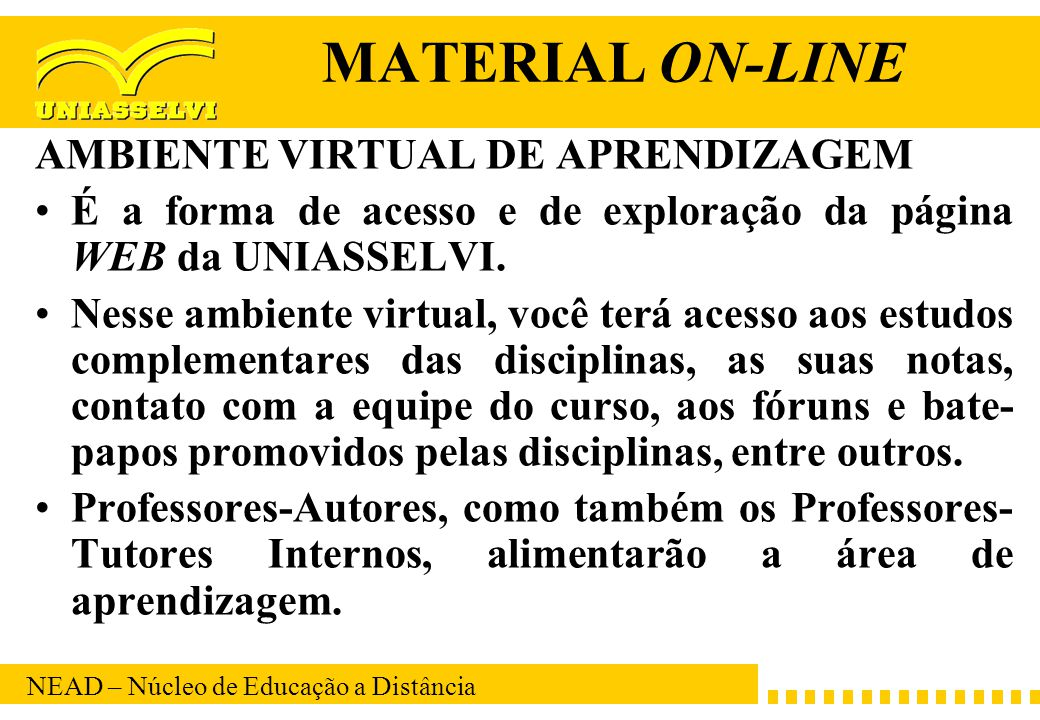 MATERIAL ON-LINE AMBIENTE VIRTUAL DE APRENDIZAGEM