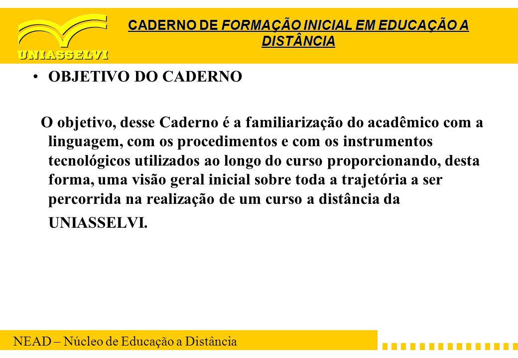 CADERNO DE FORMAÇÃO INICIAL EM EDUCAÇÃO A DISTÂNCIA