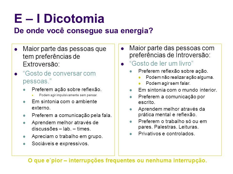 E – I Dicotomia De onde você consegue sua energia