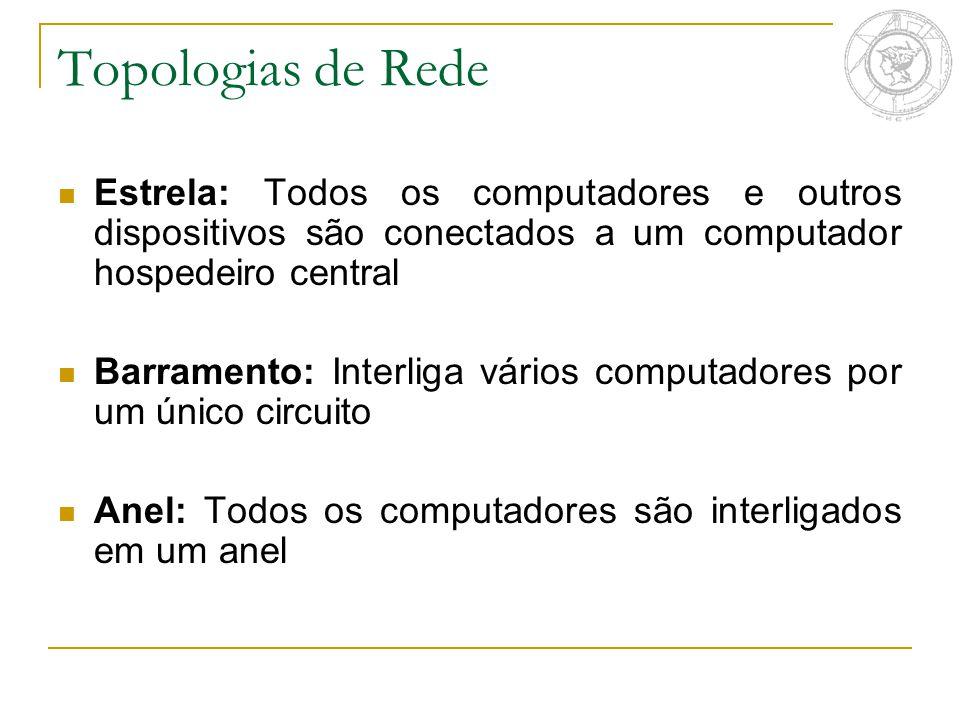Topologias de Rede Estrela: Todos os computadores e outros dispositivos são conectados a um computador hospedeiro central.