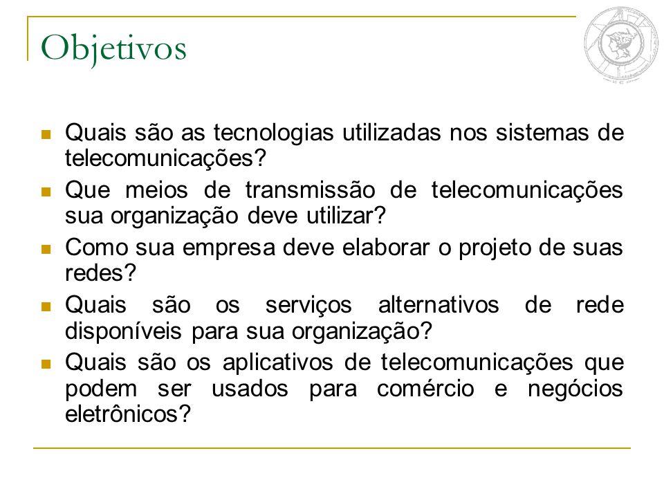 Objetivos Quais são as tecnologias utilizadas nos sistemas de telecomunicações