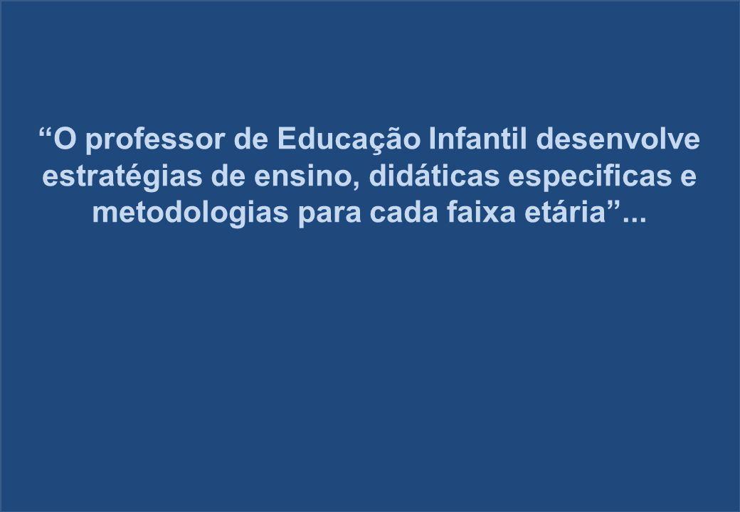 O professor de Educação Infantil desenvolve estratégias de ensino, didáticas especificas e metodologias para cada faixa etária ...