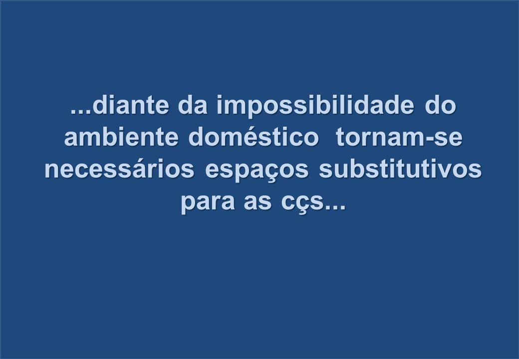 ...diante da impossibilidade do ambiente doméstico tornam-se necessários espaços substitutivos