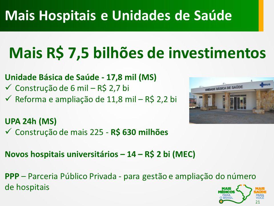 Mais R$ 7,5 bilhões de investimentos