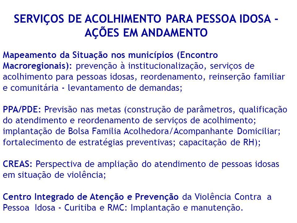 SERVIÇOS DE ACOLHIMENTO PARA PESSOA IDOSA - AÇÕES EM ANDAMENTO