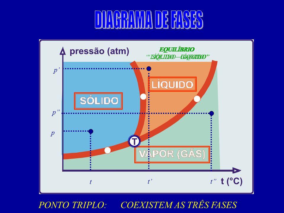 PRESSÃO e TEMPERATURA DIAGRAMA DE FASES