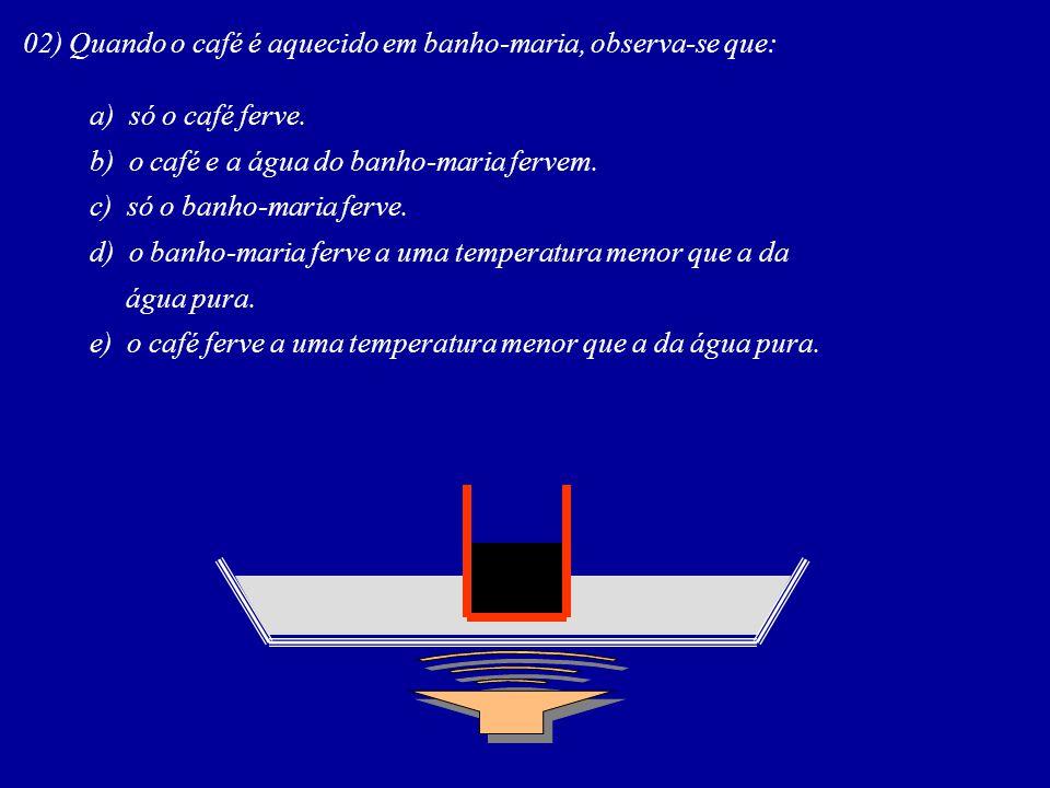 02) Quando o café é aquecido em banho-maria, observa-se que:
