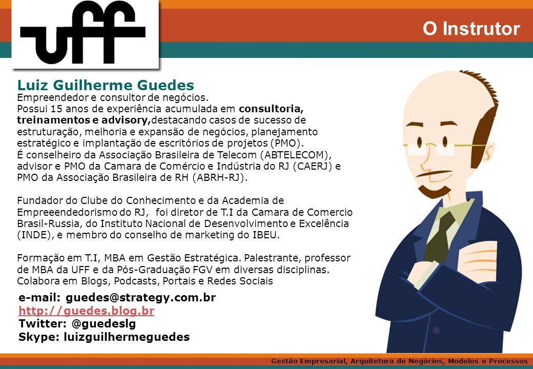 O Instrutor Luiz Guilherme Guedes e-mail: guedes@strategy.com.br