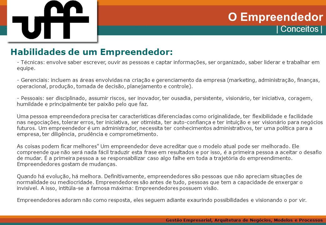 O Empreendedor | Conceitos | Habilidades de um Empreendedor: