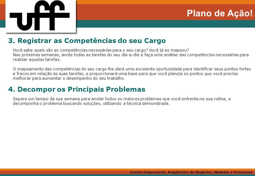 Plano de Ação! 3. Registrar as Competências do seu Cargo