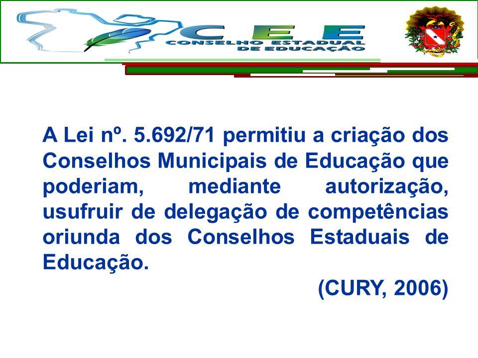 A Lei nº. 5.692/71 permitiu a criação dos Conselhos Municipais de Educação que poderiam, mediante autorização, usufruir de delegação de competências oriunda dos Conselhos Estaduais de Educação.