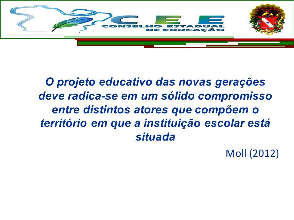O projeto educativo das novas gerações deve radica-se em um sólido compromisso entre distintos atores que compõem o território em que a instituição escolar está situada Moll (2012)