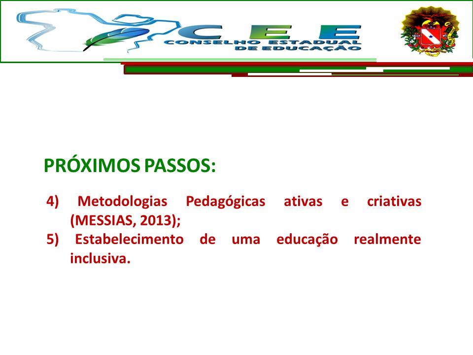 PRÓXIMOS PASSOS: 4) Metodologias Pedagógicas ativas e criativas (MESSIAS, 2013);