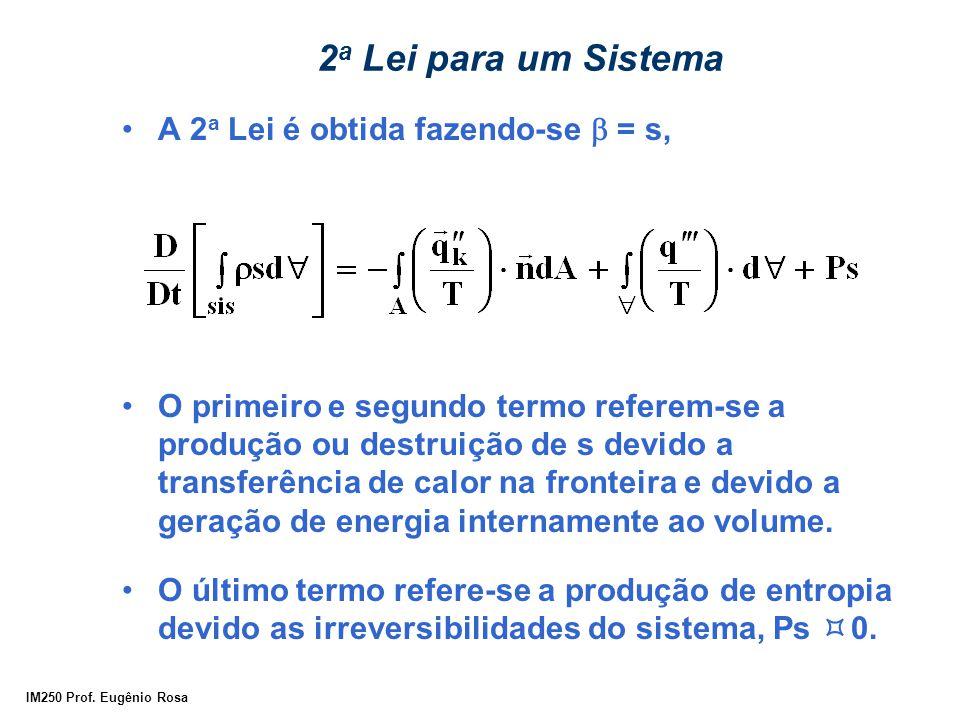 2a Lei para um Sistema A 2a Lei é obtida fazendo-se b = s,