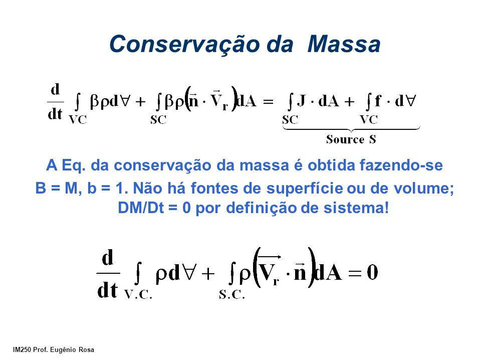 A Eq. da conservação da massa é obtida fazendo-se