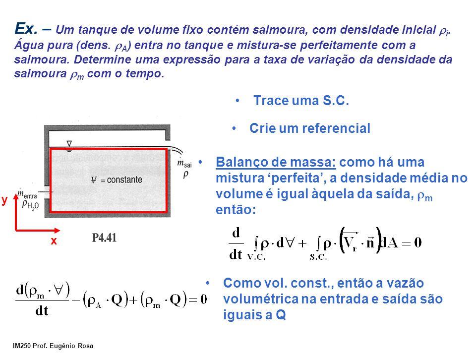 Ex. – Um tanque de volume fixo contém salmoura, com densidade inicial ri. Água pura (dens. rA) entra no tanque e mistura-se perfeitamente com a salmoura. Determine uma expressão para a taxa de variação da densidade da salmoura rm com o tempo.