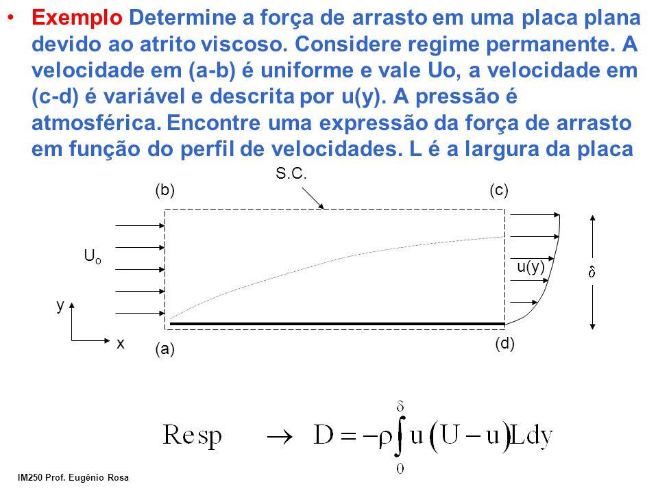 Exemplo Determine a força de arrasto em uma placa plana devido ao atrito viscoso. Considere regime permanente. A velocidade em (a-b) é uniforme e vale Uo, a velocidade em (c-d) é variável e descrita por u(y). A pressão é atmosférica. Encontre uma expressão da força de arrasto em função do perfil de velocidades. L é a largura da placa