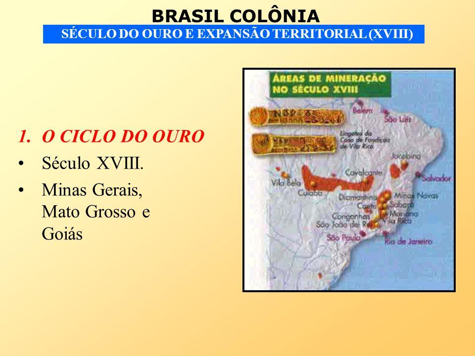 O CICLO DO OURO Século XVIII. Minas Gerais, Mato Grosso e Goiás