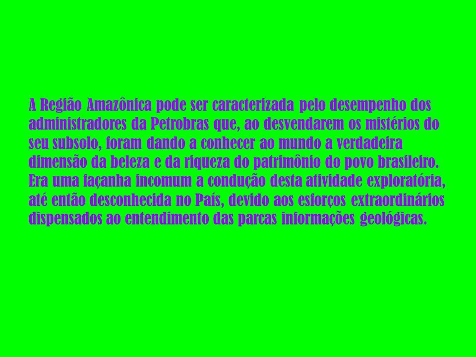 A Região Amazônica pode ser caracterizada pelo desempenho dos administradores da Petrobras que, ao desvendarem os mistérios do seu subsolo, foram dando a conhecer ao mundo a verdadeira dimensão da beleza e da riqueza do patrimônio do povo brasileiro.
