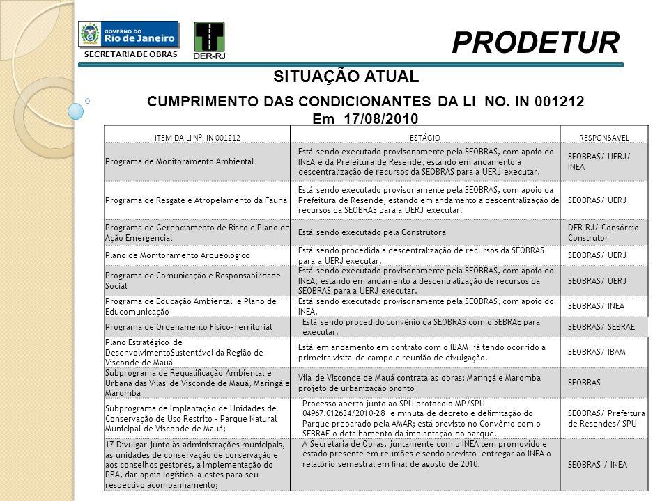 CUMPRIMENTO DAS CONDICIONANTES DA LI NO. IN 001212
