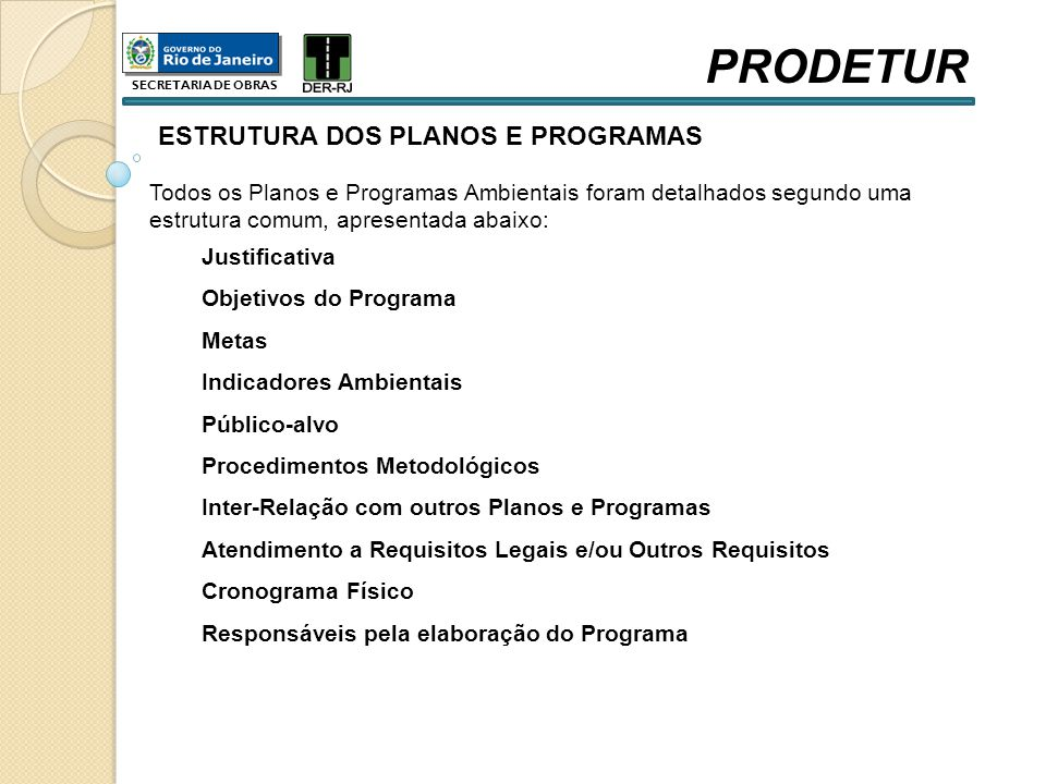 PRODETUR ESTRUTURA DOS PLANOS E PROGRAMAS