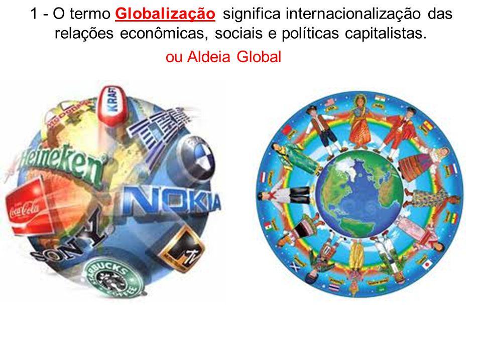 1 - O termo Globalização significa internacionalização das relações econômicas, sociais e políticas capitalistas.