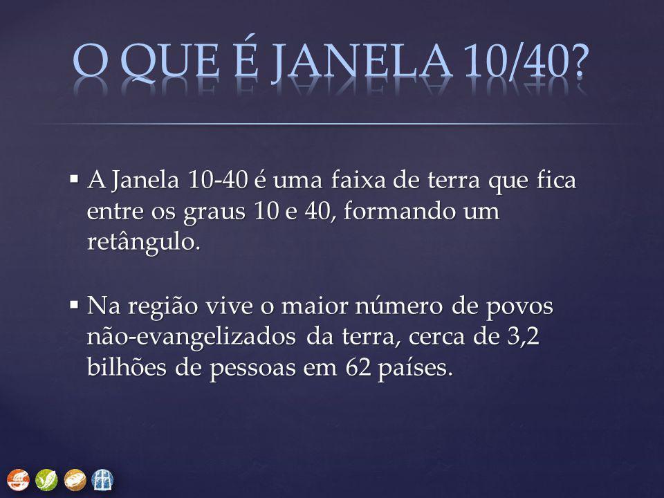 O QUE É JANELA 10/40 A Janela 10-40 é uma faixa de terra que fica entre os graus 10 e 40, formando um retângulo.