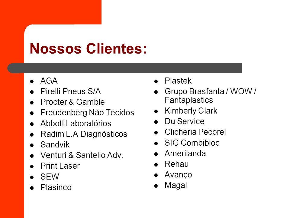 Nossos Clientes: AGA Pirelli Pneus S/A Procter & Gamble