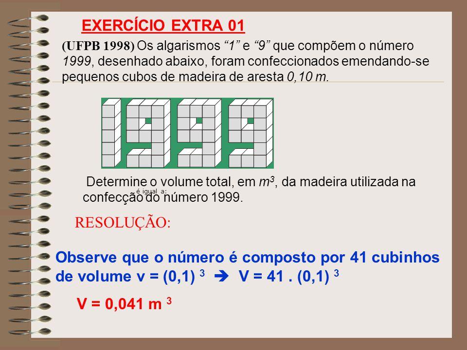 EXERCÍCIO EXTRA 01 RESOLUÇÃO: