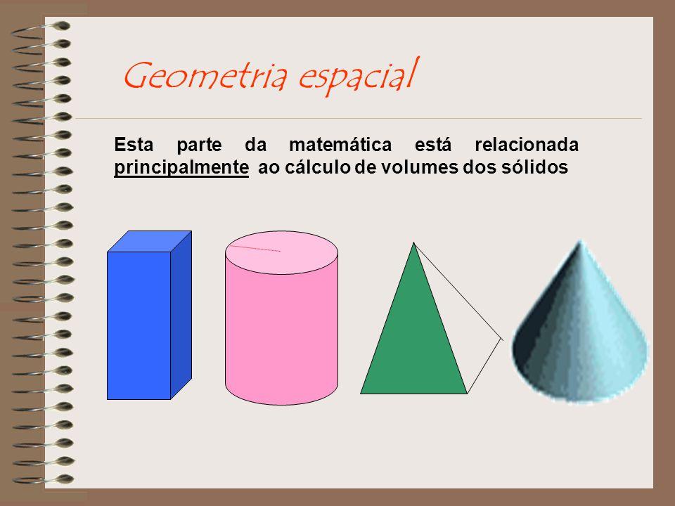 Geometria espacial Esta parte da matemática está relacionada principalmente ao cálculo de volumes dos sólidos.