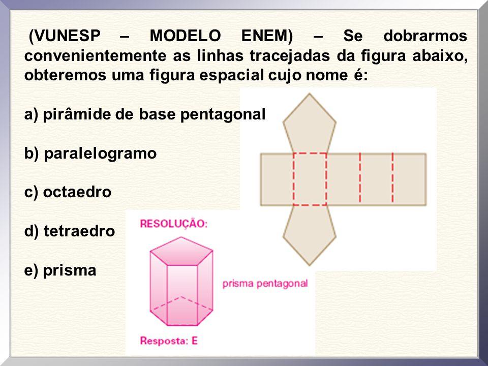 (VUNESP – MODELO ENEM) – Se dobrarmos convenientemente as linhas tracejadas da figura abaixo, obteremos uma figura espacial cujo nome é: