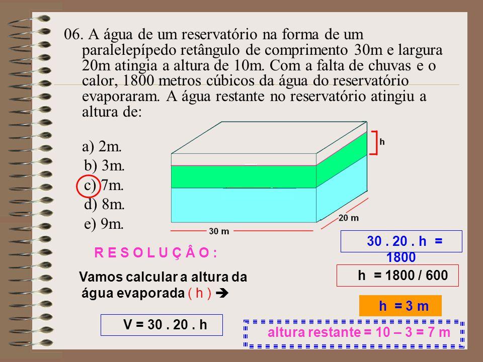 Vamos calcular a altura da água evaporada ( h ) 